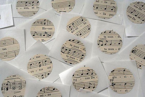 Set of 20 upcycled stickers  sheet music by swirlyarts on Etsy