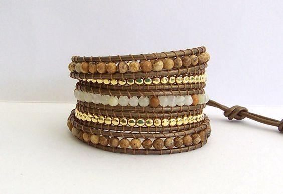 Leather Wrap Bracelet - Jasper, Italian Onyx, Gold Metal Nuggets, Metalic Brown Leather