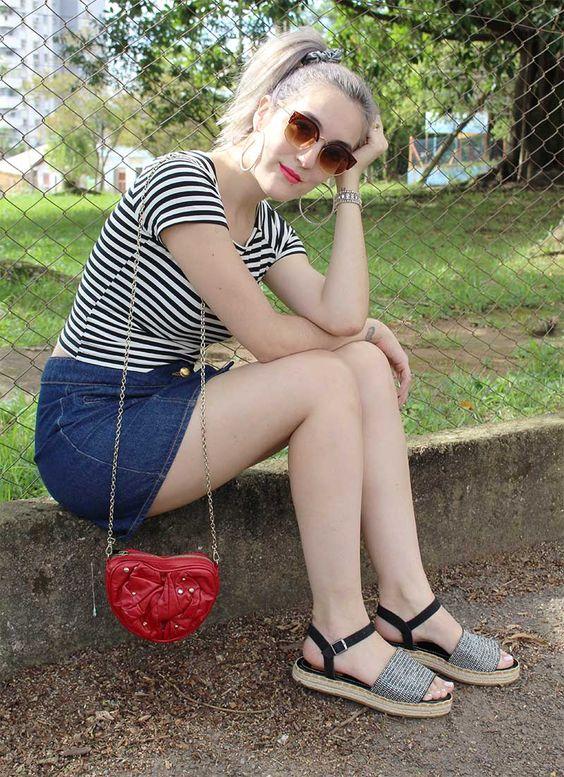 jeans skirt - stripes shirt - black and white - granny hair - avarca - heart bag - red bag - retro sunglasses: