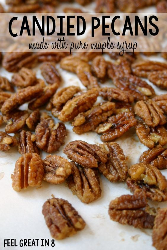 Candied Pecans - Made With Pure Maple Syrup! With no refined sugar and heart healthy nuts, this is the perfect healthy holiday treat.
