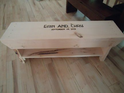 Raw, Classic Wedding Bench.  [Guests are carving on the bench at the wedding, and the bench is finished post-event]
