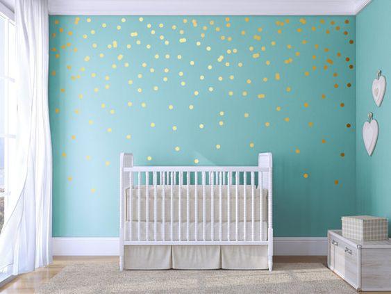 Polka dot  wall decal  Gold Confetti  Polka Dot  Polka by Jesabi