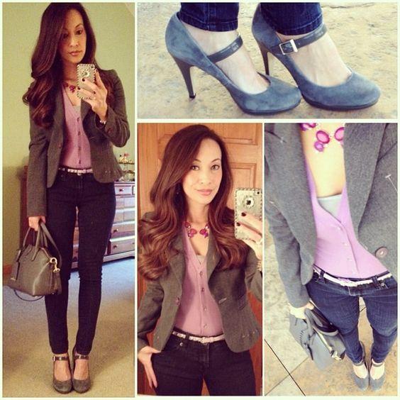 Shades of Grey: #bebe #blazer, #gap #cardi, #thelimited #skinnies, #francosarto #maryjanes, #loft necklace & #philliplimfortarget mini satchel #ootd #fallstyle #wiwt #fashion #fashionista #whatiwore #lookoftheday #instafashion #instastyle #igfashion #igstyle #mystyle #currentlywearing #instalook #hapa #followme #stylediaries