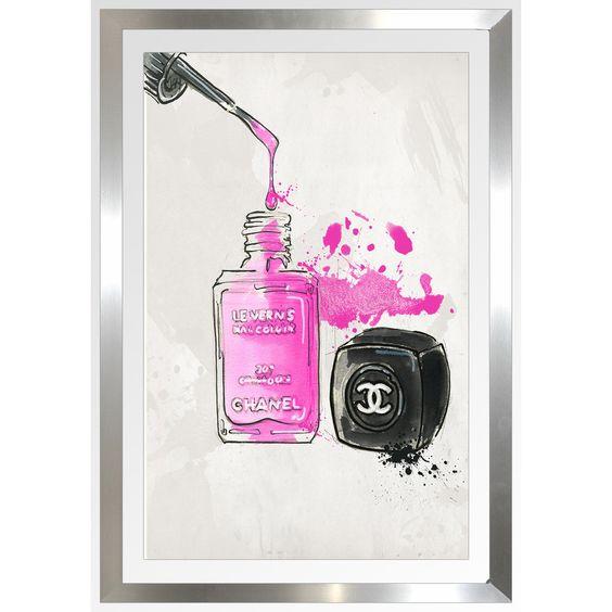 "FramedCanvasArt.com By Jodi ""Chanel Nail Polish"" Framed Plexiglass Wall Art"
