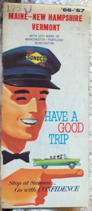 http://ajunkeeshoppe.blogspot.com/  ROAD MAP 1967 Sunoco Interstate Highway Routes Maine New Hampshire Vermount