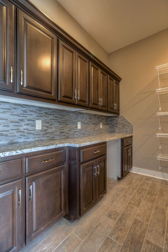 huge walk-in pantry with counter, cabinets and shelving