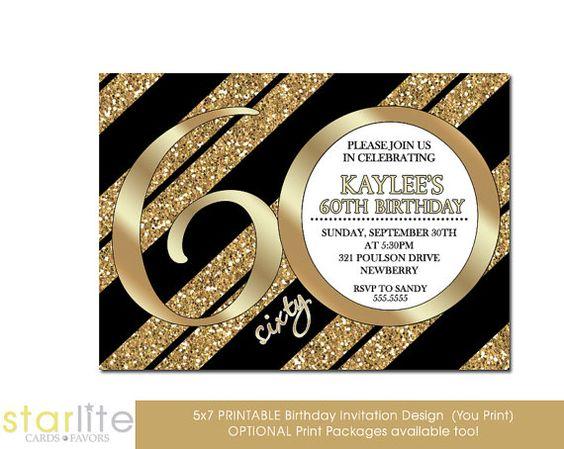 60th Birthday Invitation Milestone Birthday Invitation by starwedd