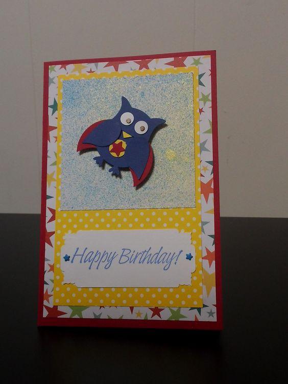 Super hero birthday, Stampin Up owl punch