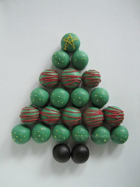 Christmas Tree Cake Balls :: So easy to make and perfect for a holiday party! Details on creativefunfood.com