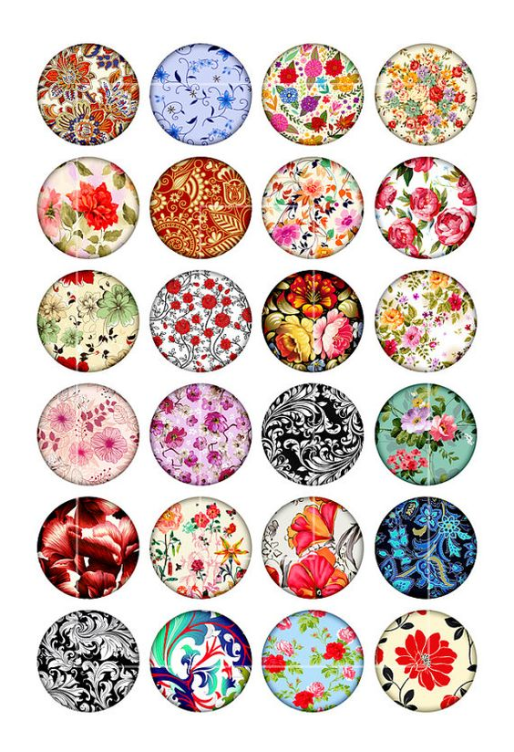 Floral Pattern 20mm 18mm 16mm 14mm 12mm Circle door MobyCatGraphics
