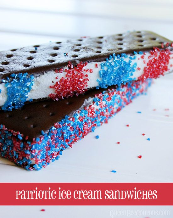 4th of July recipe – easy patriotic ice cream sandwiches #4thofJuly #patriotic #redwhiteblue