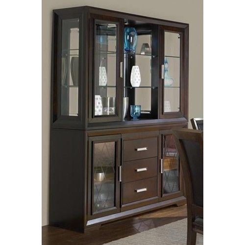 Brentwood contemporary china cabinet with etched glass for Dining room hutch canada