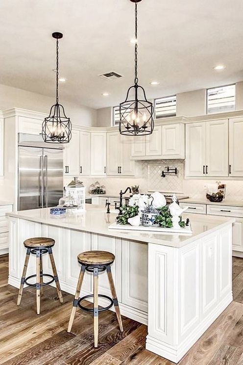 A Beautiful Rustic Glam Kitchen By Cabinet And Stone Featuring The Cambridge Door In Canvas Kitchen Remodel Custom Kitchen Remodel White Kitchen Decor