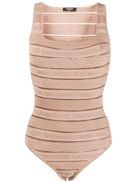 balmain sheer logo stripe jacquard bodysuit in neutrals modesens