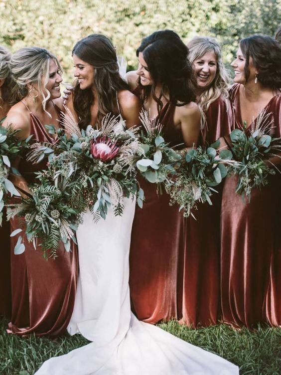 Top 9 Fall Wedding Color Schemes For 2019 Bridesmaid Dresses Boho Fall Bridesmaid Dresses Boho Wedding Colors