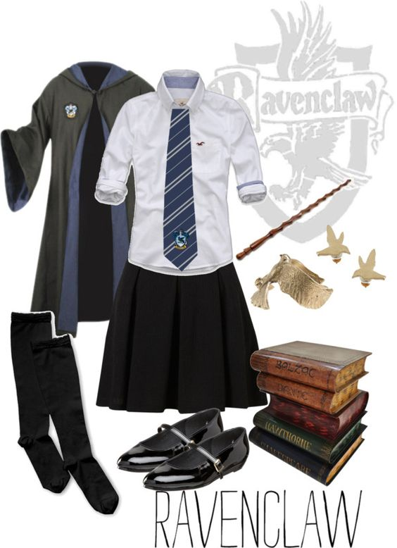 """Ravenclaw Uniform"" by neonballrooms on Polyvore. Totally gonna wear this for the Harry Potter themed Halloween Party my sister is having! ⚡:"