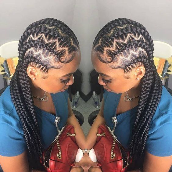 Stitch Braids With Zig Zag Parts Ghana Braids Zig Zag In 2020
