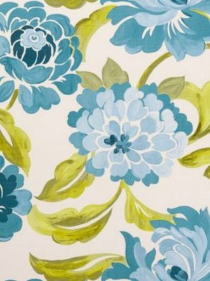Tracy Reese Country Home Inspired Fabric Clarke & Clarke Fabric Margherita-Aqua