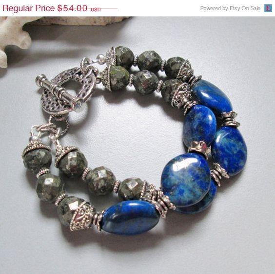 25+OFF+SALE+Lapis+Pyrite+and+Silver+Bracelet+by+nina68+on+Etsy,+$40.50