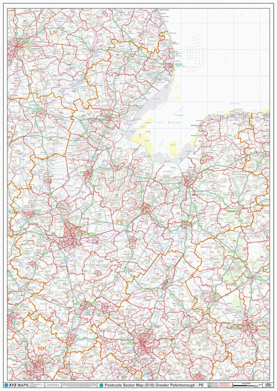 Greater Peterborough (PE) Area Postcode Sector Map. From Rushden in the West to Fakenham in the East and from Lincoln in the North to Beford in the South. Towns: Boston, Hunstanton, Huntingdon, Kings Lynn, March, Market Deeping, Peterborough, St Neots, Skegness, Spalding, Stamford, Wisbech #Map #Postcode #Peterborough