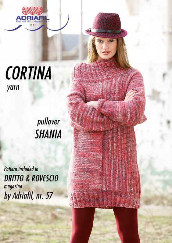 """Shania"" long pullover, CORTINA yarn by Adriafil Pattern included in Dritto & Rovescio magazine, nr. 57 http://www.adriafil.com/uk/scheda-rivista.html?id_rivista=57  #adriafil #magazine #cortina #yarn #filato #new #colours #novità #shades #shading #nuances #nuance #fashion #trend #trends #moda #knitwear #handmade #pattern #maglia #tricot #tricoter #knit #knitting #madeinitalyv #diy #doityourself #pullover"