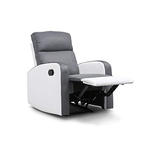 Idmarket Fauteuil Relaxation Inclinable Gris Anthracite Et Blanc Fauteuil Relax Fauteuil Gris