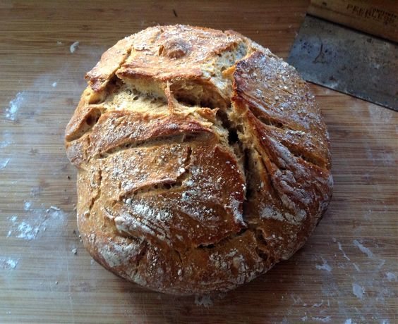 No Knead Sourdough Bread Recipe with added yeast