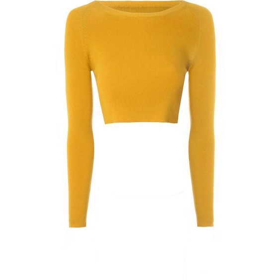 Glamorous Mustard Cropped Knit Top (£24) ❤ liked on Polyvore featuring tops, yellow, long sleeve knit tops, long sleeve crop top, mustard top, mustard yellow top and yellow knit top