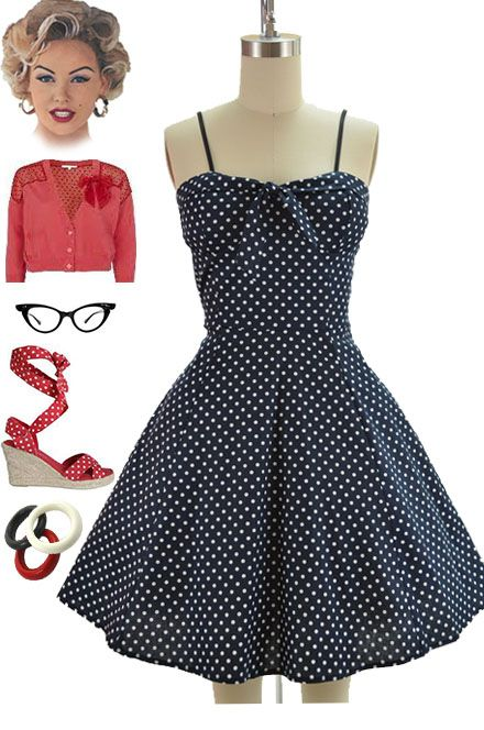 Brand new in store at Le Bomb Shop! Find it here: http://www.ebay.com/itm/50s-Style-BLACK-w-White-POLKA-DOTS-Tie-Bust-GETTING-DOT-HERE-Pinup-SunDress-/140925217085?pt=US_CSA_WC_Dresses==item66786ab067