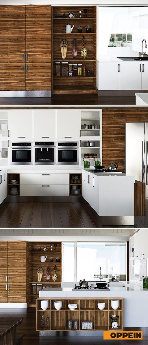 Modern Wood Grain Melamine And Lacquer Kitchen Cabinet Kitchen