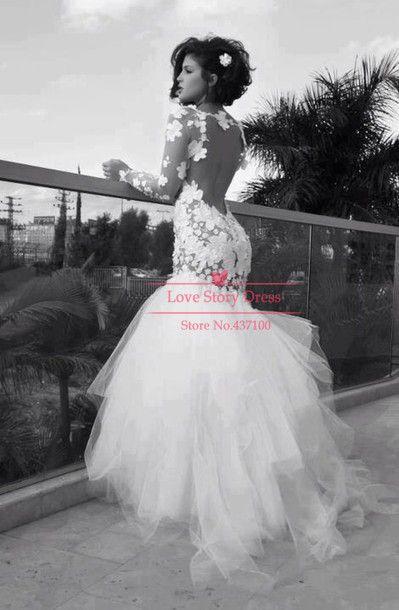 Modern Vestidos De Novias Tulle Open Back Lace Mermaid Fishtail Lace Bride Dress Vintage Wedding Dresses 2014 with Long Sleeves
