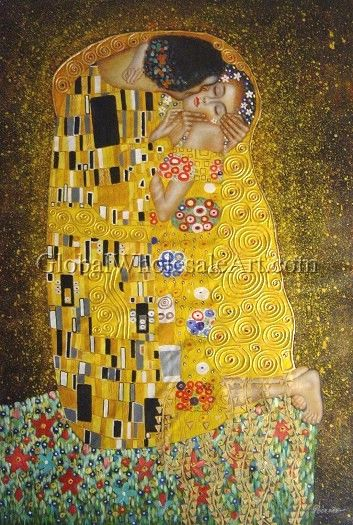 a kiss by gustav klimt 255 usd 24 w x 36 h 60x90cm to shop this oil painting click here. Black Bedroom Furniture Sets. Home Design Ideas