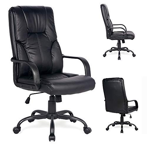 Adjustable High Back Executive Pu Leather Office Chair Computer Desk Chair Ergonomic Style Swivel Chair With Thick Back Zelinks Amzn Leather Office Chair Office Chair Chair
