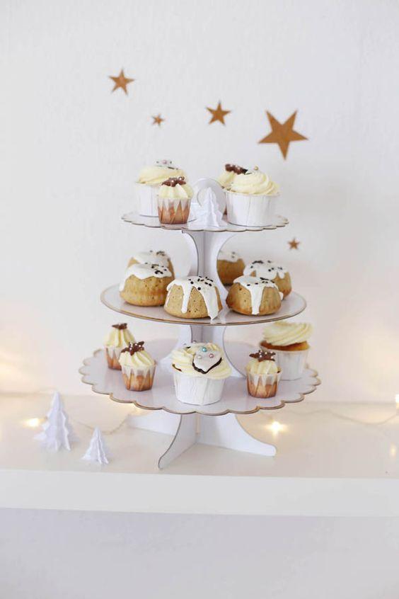 cupcakes listo para servir en navidad