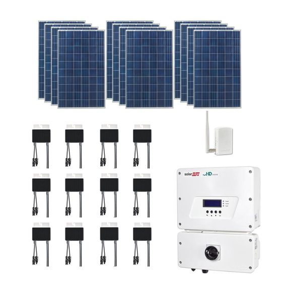 Grape Solar 3 180 Watt Expandable Poly Crystalline Pv Grid Tied Solar Power Kit Gs 3180 Kit The Home Depot Solar Power Kits Solar Panels Best Solar Panels