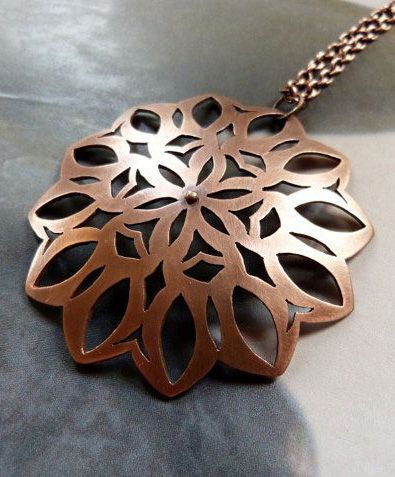 Mandala necklace with iolit, copper handcrafted metalwork pendant