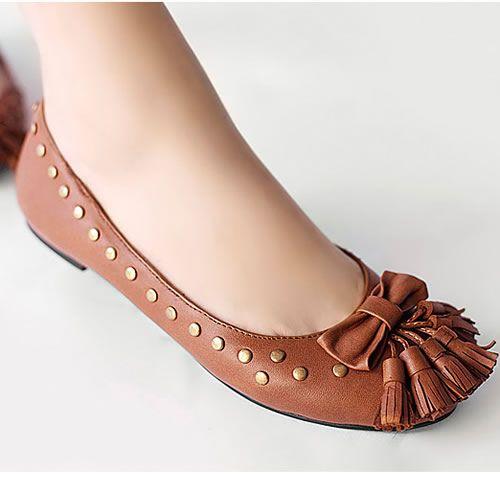 Women Brown Leather Studded Punk Fashion Casual Dress Shoes Flats SKU-1090277