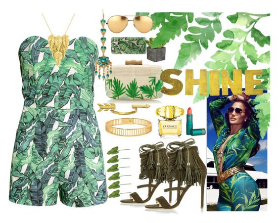 """""""Jungle Fever"""" by xmoonagedaydreamx ❤ liked on Polyvore featuring H&M, River Island, Kayu, Arme De L'Amour, London Road, Gorjana, Casetify, Versace, Dot & Bo and Lipstick Queen"""