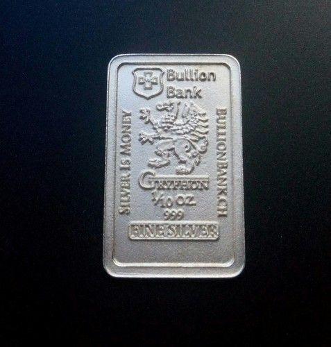 1 10 Oz Gryphon 999 Fine Silver Bar Bu Bullion Bank Starting At 4 Goldinvestment Buy Gold And Silver Gold Bullion Bars Silver Bars