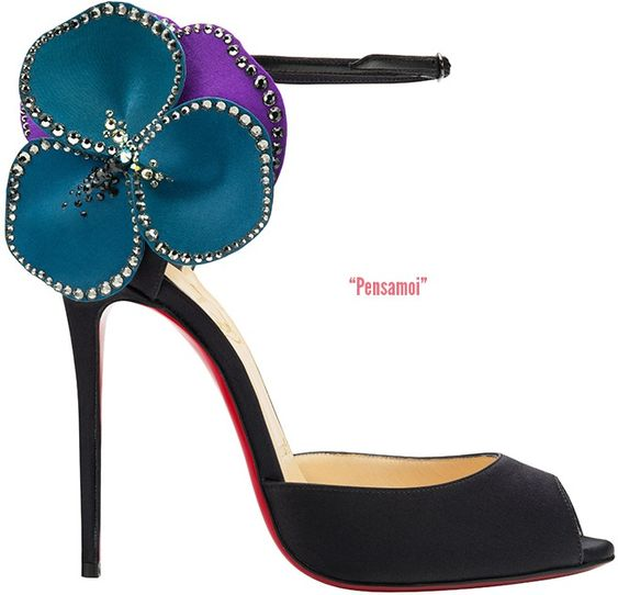 Christian Louboutin 'Pensamoi' Crystal Embellished Flower Ankle Strap Sandal Fall 2014 #CL #Louboutins #Shoes