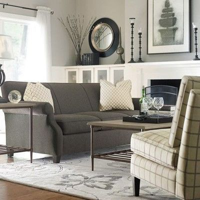 Graphite gray couch with taupe y gray walls living room - Living room furniture with grey walls ...