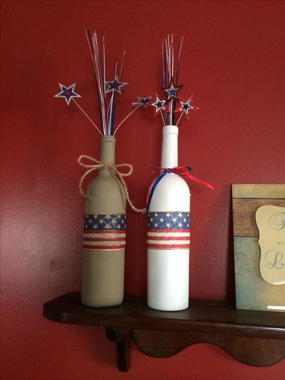 America wine bottle crafts crafts i 39 ve made pinterest for Cute wine bottles