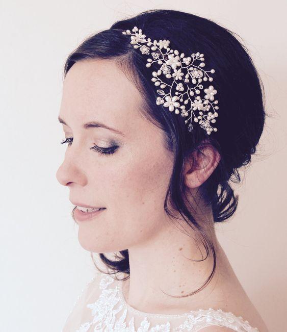 Bridal pearl crystal side tiara vintage by JoannaReedBridal