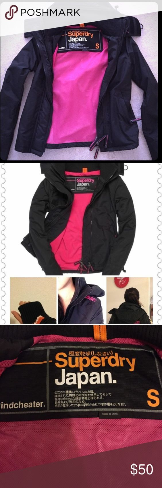 Superdry windbreaker jacket pink and black Like new amazing and I love the details Superdry Jackets & Coats