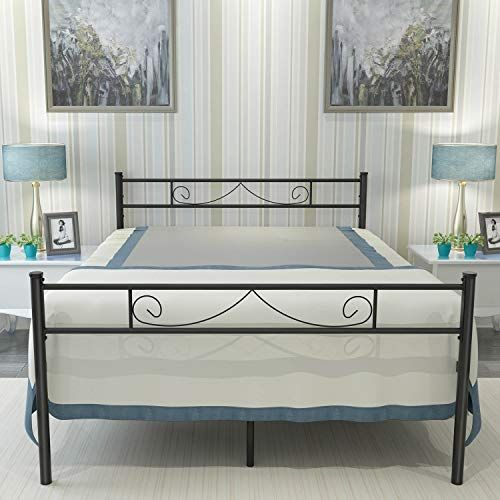 Haageep Metal Platform Full Size Bed Frame With Headboard And