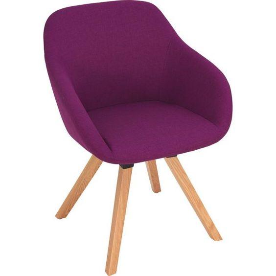 armlehnstuhl in holz textil eichefarben violett st hle