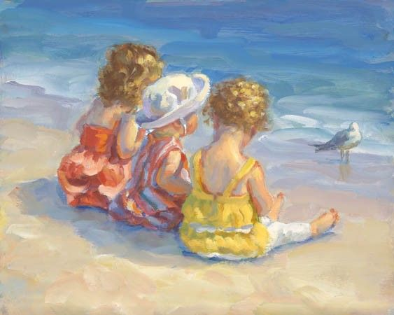 SALE Children at the Beach Canvas Giclee Print by AllThatArt, $70.00