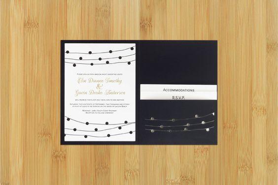 Pergola Lights laser cut wedding invitation