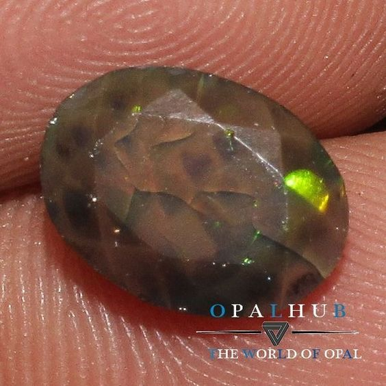 1.11 Cts Natural Ethiopian Welo Fire Black Opal  Faceted Cut Gemstone 312
