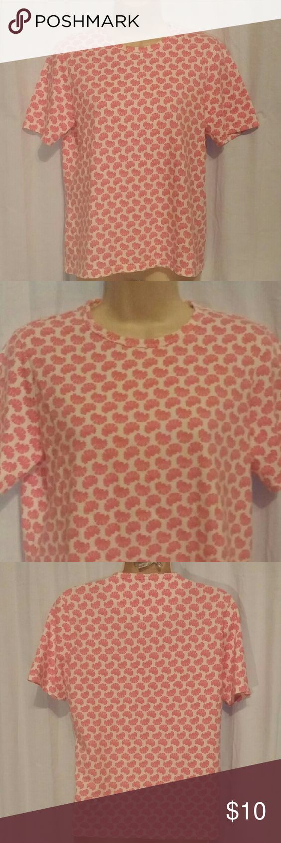 "Lands' End Pink White Short Sleeve T Shirt Top M All clothes are in excellent used condition. No stains or holes.  Content: 100% cotton  Bust: 38"" Length: 24""  Posh8 Lands' End Tops Tees - Short Sleeve"